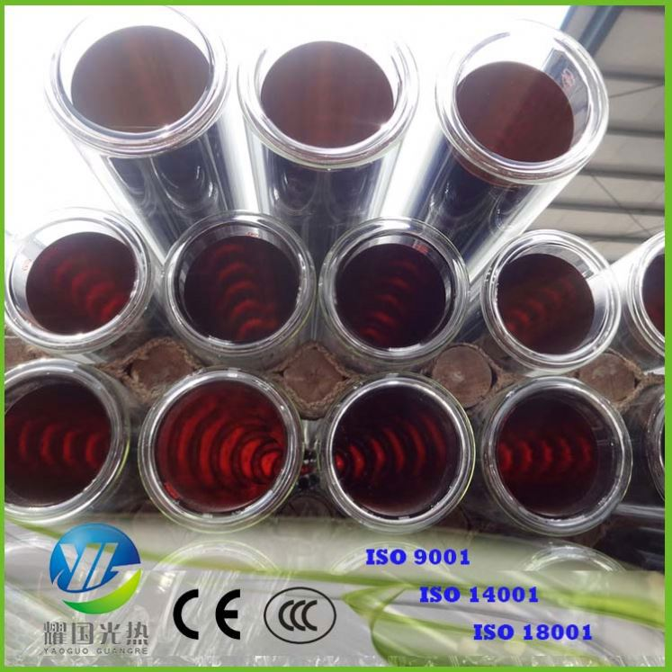 Both Sides Open Solar Vacuum Tube 58*1800Mm Three Target Coating Solar Evacuated Tubes Tube