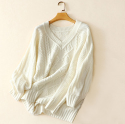 100% cashmere soft warm thick knitted women short section sweater pullover deep V-neck christmas sweater