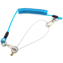 Fall Protection Plastic Coil Cord Lanyard With Ring