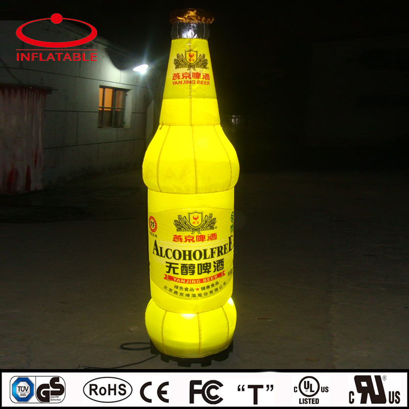 LED light inflatable bear bottle model replica with logo for promotion