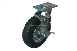 "8"" pneumatic wheel rubber casters wheel for hotel luggage carts"