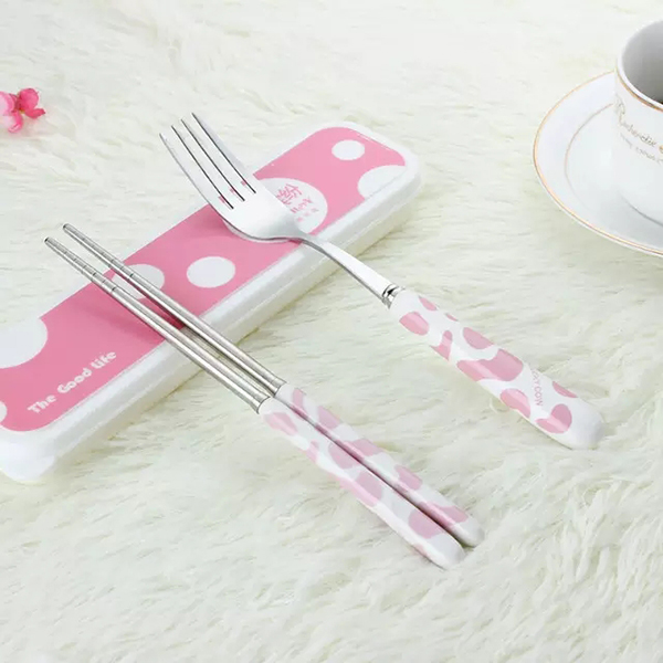 Stainless Steel Spoon Chopsticks Fork Tableware Portable Three-piece Tableware Travel Cutlery Sets Creative Gifts