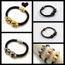 2016 Stainless Steel jewelry Braided Black Skull Leather Bracelet