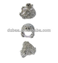 Polar Bear Jewelry Rings for Wedding Ceremony in Church,Bishop Rings with Full Embessed Rhinestones Engagment Rings DB01411