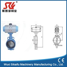 Durable in use stainless steel sanitary pneumatic actuator operated butterfly valve