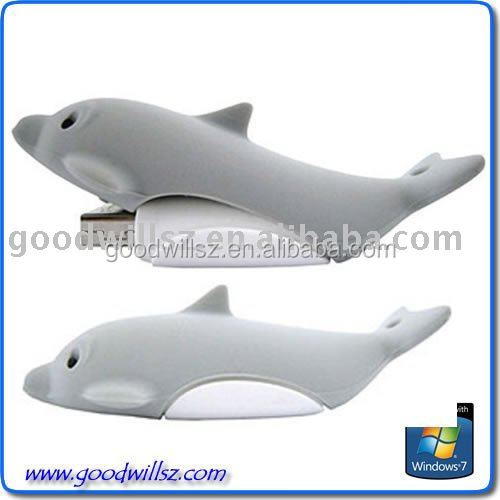 Cute pvc customized Dolphin shape Flash USB Driver