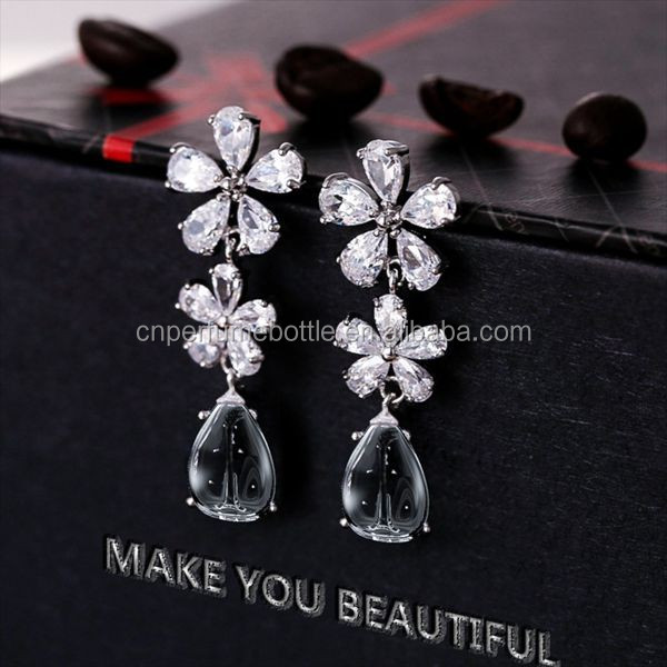 New design Wedding Fashion ear ring diamond stud earrings with perfume bottle