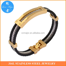 Stainless Steel Twisted Cable Cuff Bangle Bracelet MJBA-064