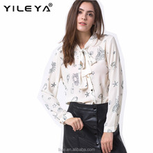 New design women white printed bow decor long sleeve chiffon blouse