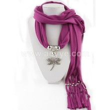 Low price fashion jewellery tassels beads alloy dragonfly pendant scarf