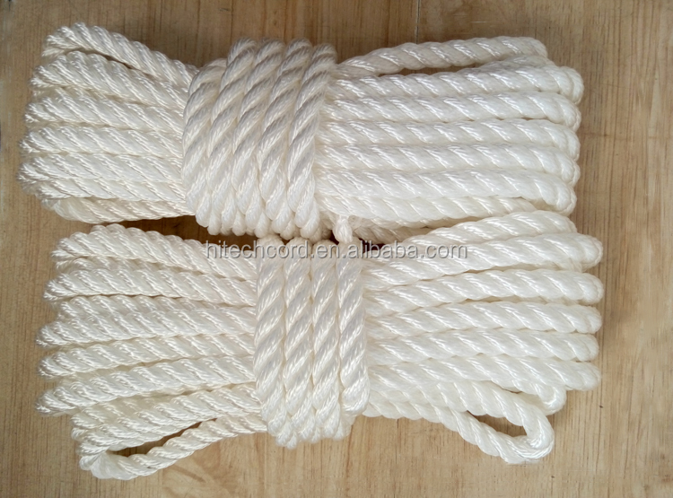 16 mm white color  PP twisted rope  3 strand twisted polypropylene rope with loop eye splice