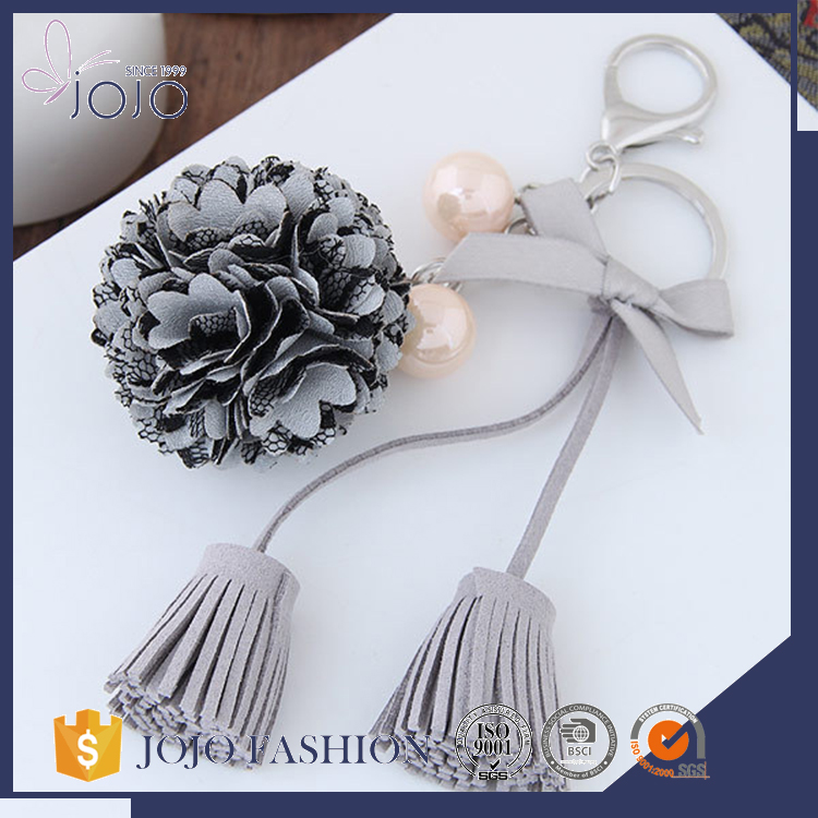 New arrival wholesale long PU leather tassels fabric flower elegant keychain for women