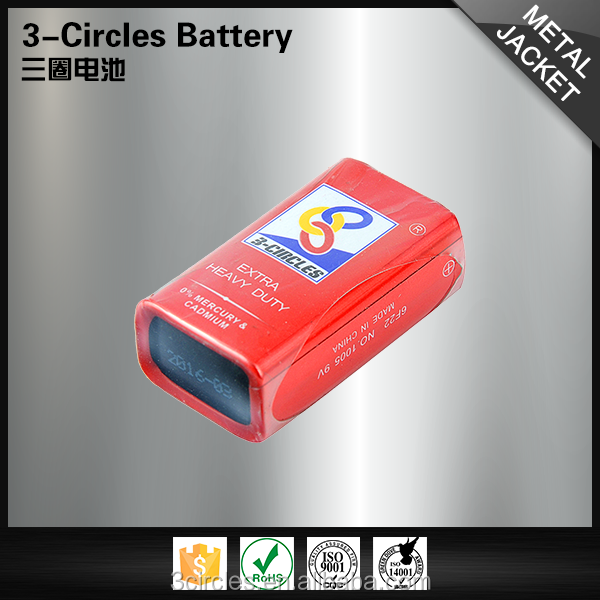 Practical 6f22 metal jacket 9v long time 3-circles dry batteries
