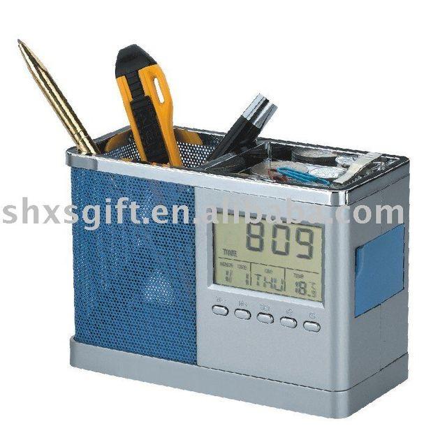 Calculator calendar pen container, fashionable brush pot