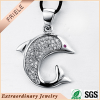 2015 Fish Charm pendant With white cz Pave Stone 925 sterling Silver animal Pendants