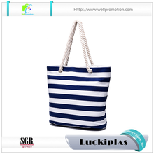 wholesale stripe print canvas beach tote duffel bag with rope handle