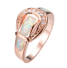 Unique Design Fashion Rose Gold Plated Over Sterling Silver Clear CZ Zircon Fire Opal Belt Buckle Ring For Women