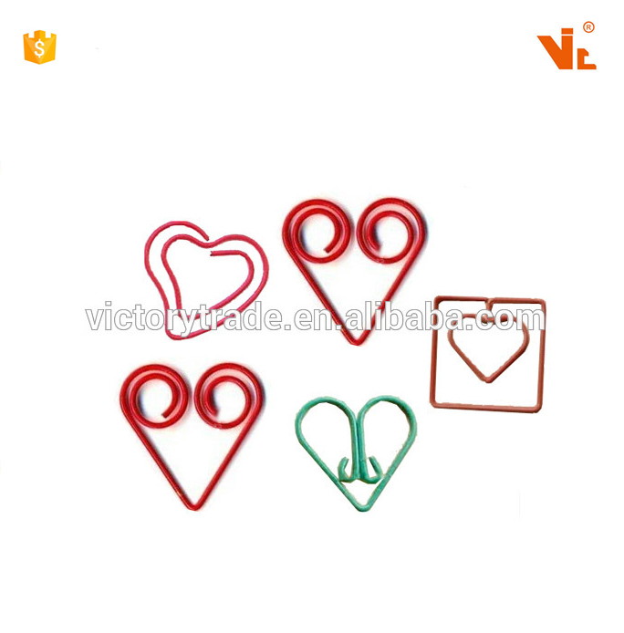 V-<strong>P008</strong> Custom special novelty heart shape personalized metal clips for paper