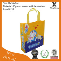 Cute cartoon logo eco friendly recyclable Non Woven funny shopping bag