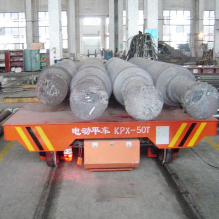 Shipyard cast steel wheel steel tube rail wagon on tracks with slope
