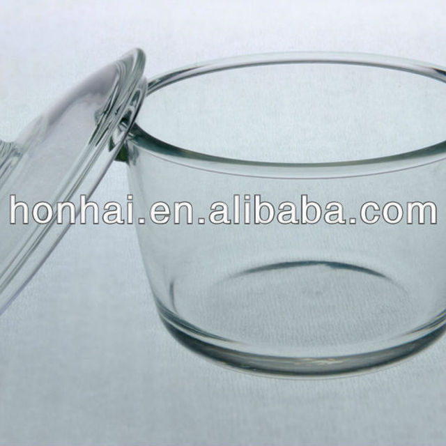 round heat resistant borosilicate lightwave pot with lid with handles