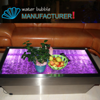 Factory directly sale! Changing color led light coffee&tea table with water bubble for sale