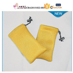 Promotion Mesh Fabric Drawstring Bag Pressed with Gold Logo