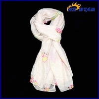 HZW-13330007 owl flower pattern design factory direct mixed fashion shawls and wraps girls