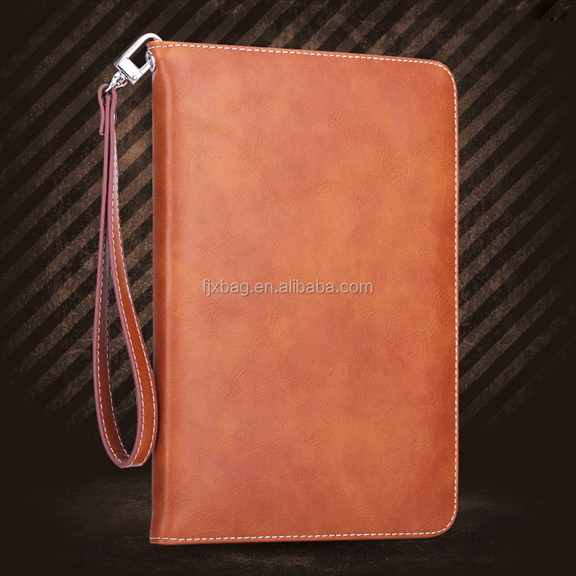 Customized Handle Luxury Leather flip Smart Cover Case for ipad air 2 ipad 6 wallet stand