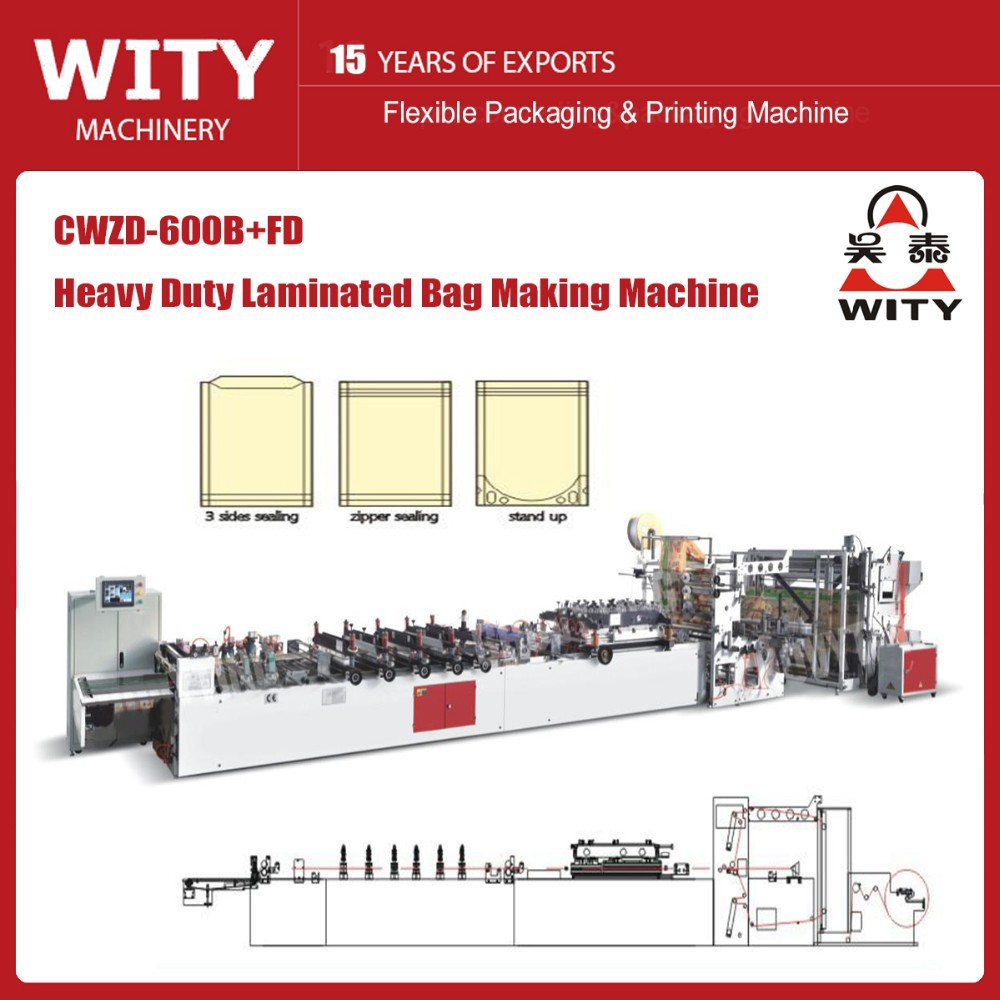 THREE SIDE SEALING,STAND UP AND ZIPPER BAG MAKING MACHINE(by single film)