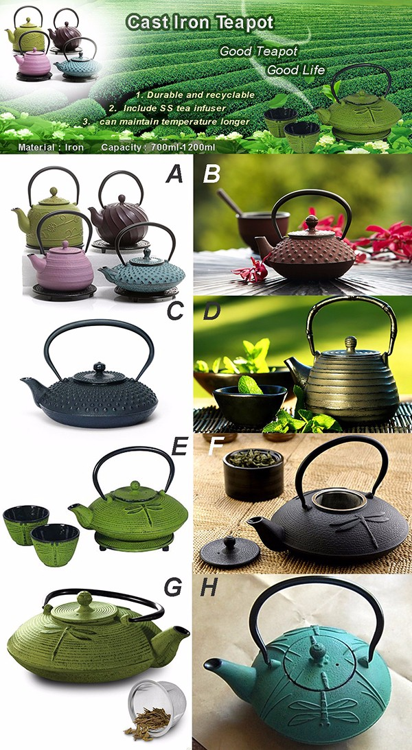 Japanese Tetsubin Cast Iron Tea Pot Kettle Word Pattern 790ml