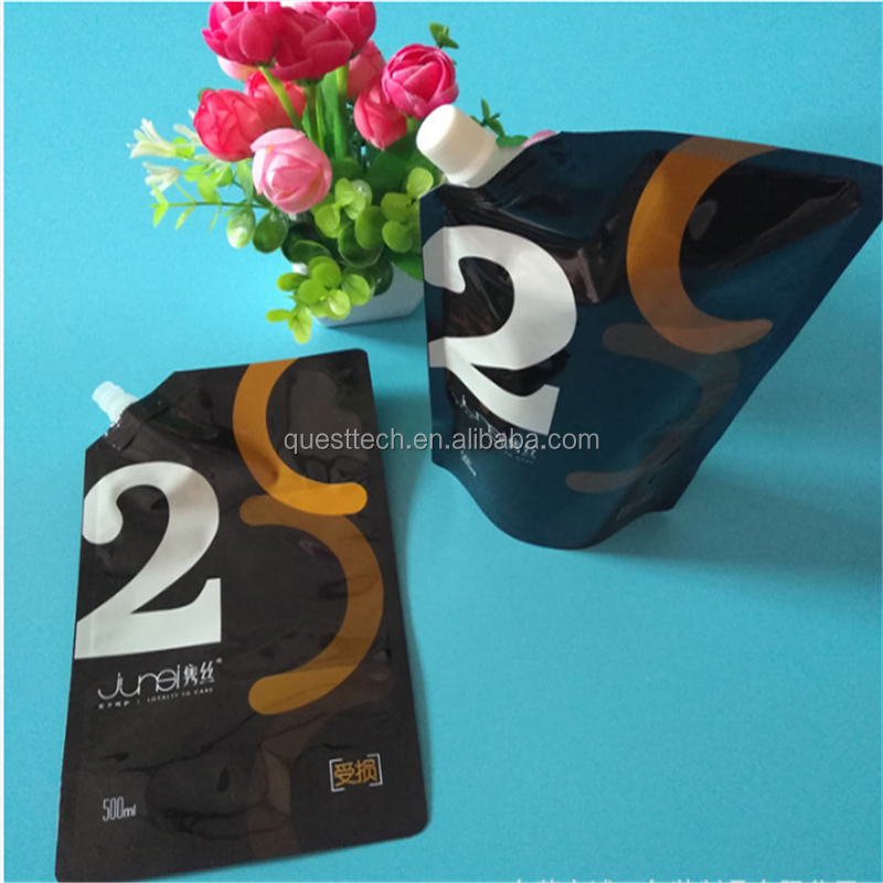 Customized printed black color stand up hair care packaging spout bag, Hair care spout pouch