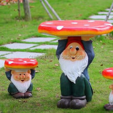Mushroom shape resin table and chair of garden furniture
