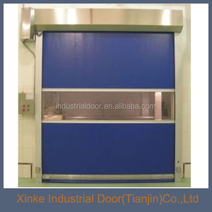 Transparent PVC window automatic stainless steel track high speed door