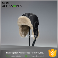 mens black leather fur lining winter warm earflaps hat