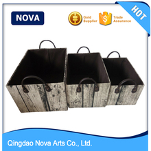 PVC Handle Printed Linen Fabric Storage Basket Set of 3