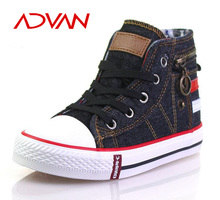 Size 25-37 Customized Canvas Shoes with Zipper Comfortable Lace-up Kids Sport Shoes