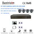 24pcs IR leds 20m 720p ip camera kit cctv 1080P POE nvr 4ch kit nvr