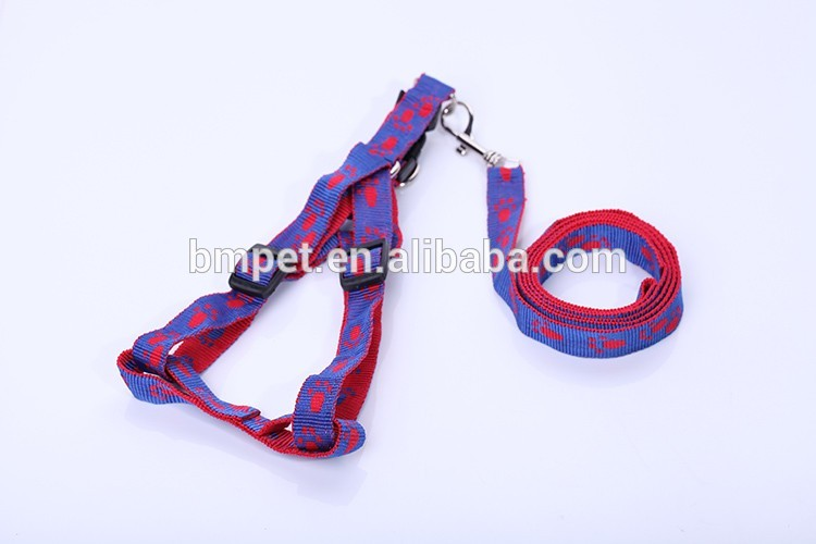 Pet Supply Jacquard Pawprint Dog Leash with Harness