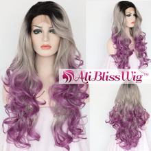 "Free Shipping 22"" Long Wavy Heat Resistant Fiber Hair Dark Roots Grey Ombre Purple Curly Synthetic Lace Front Wig for Women"