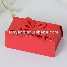 Laser Cut Red butterfly wedding Paper favor Boxes gift box candy box