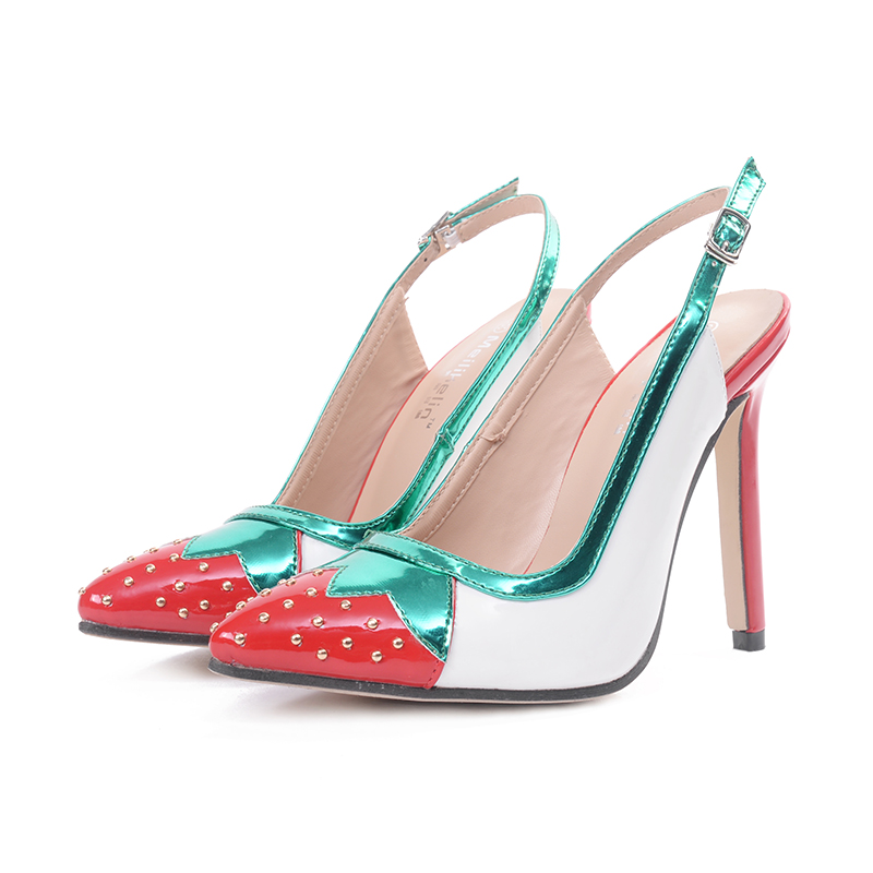 2017 new stylish colorful strawberry patchwork pumps rivet high heels slingback shoes ladies