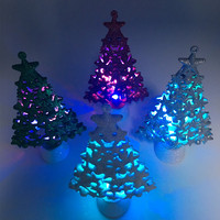 Color Changing LED Lihgted Small Christmas Ornament Glitter Display Stars Tree