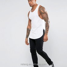 Cheap Muscle Strong Tops Mens Compression Gym Longline Weightlifting Tank Tops Curved Hem