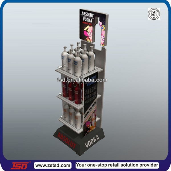TSD-W891 Custom pos floor ciroc vodka bottle display,drink display stand,wine bottle display rack