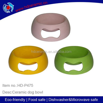 Oval shape Ceramic dog bowls,ceramic pet bowl for dog with three kinds of solid color