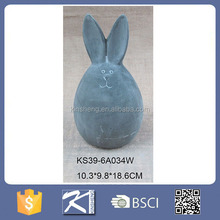 gifts and crafts cement material egg shape unique easter bunny decoration