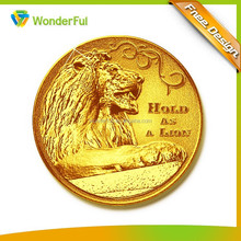 2015 Best Selling Lion Design 3D Gold Metal Proof Coin