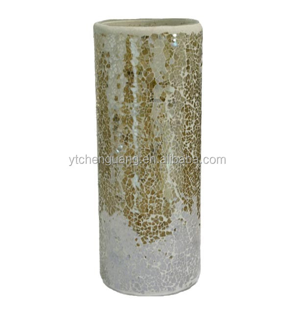 Tall mirrored glass mosaic vases with decoration