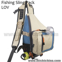 Hot selling LOV fishing tackle bag sling pack